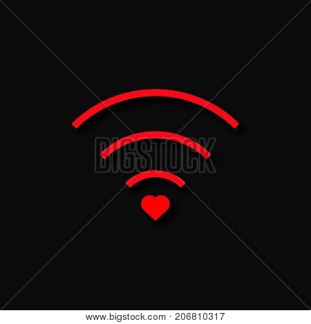 Heart wifi Vector heart connection icon in flat style. Heart signal Red wi fi icon in flat style isolated on white background Love connection