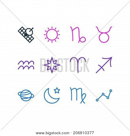 Editable Pack Of Sunny, Virgin, Ram And Other Elements.  Vector Illustration Of 12 Constellation Icons.