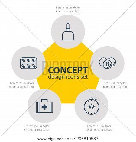 Editable Pack Of Pressure Gauge, Medical Bag, Painkiller And Other Elements.  Vector Illustration Of 5 Medical Icons.