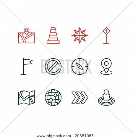Editable Pack Of Caution, Block, Orientation And Other Elements.  Vector Illustration Of 12 Location Icons.