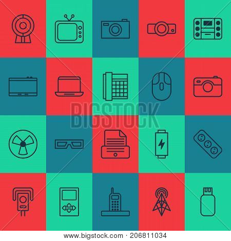 Gadget Icons Set. Collection Of Gadget, Spectacles, Player And Other Elements