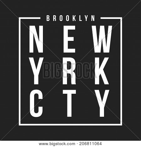 New York, Brooklyn Typography For T-shirt Print. Athletic Patch For Tee Graphic. T-shirt Design