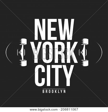 New York, Skateboarding Typography For T-shirt Print. Athletic Patch For Tee Graphic. T-shirt Design