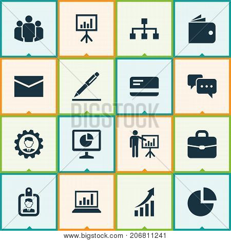 Job Icons Set. Collection Of Presentation Board, Chatting, Suitcase And Other Elements