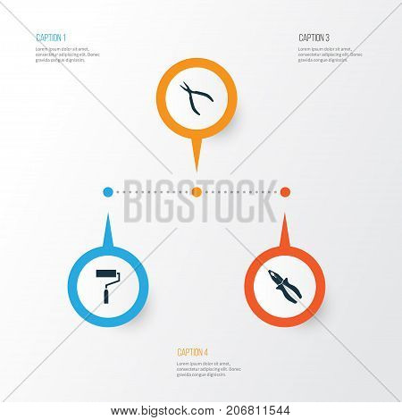 Repair Icons Set. Collection Of Clamp, Paint, Round Pliers And Other Elements