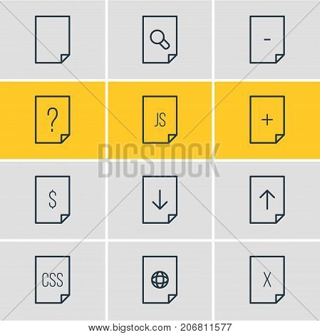 Editable Pack Of Remove, Upload, File And Other Elements.  Vector Illustration Of 12 File Icons.