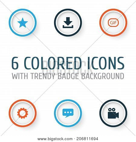 Social Icons Set. Collection Of Message, Camcorder, Star And Other Elements