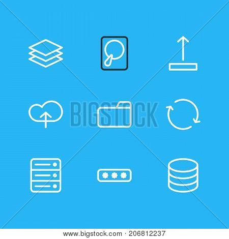 Editable Pack Of Arrow Up, Dossier, Parole And Other Elements.  Vector Illustration Of 9 Archive Icons.