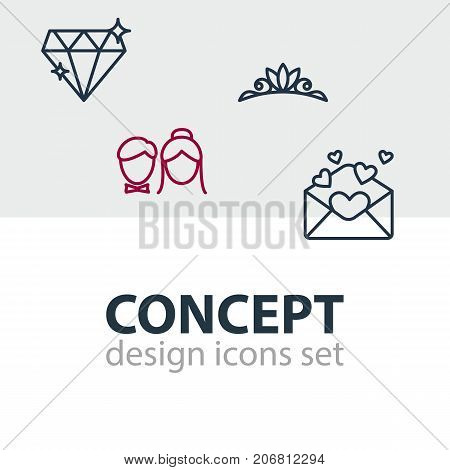 Editable Pack Of Card, Brilliant, Accessories And Other Elements.  Vector Illustration Of 4 Wedding Icons.
