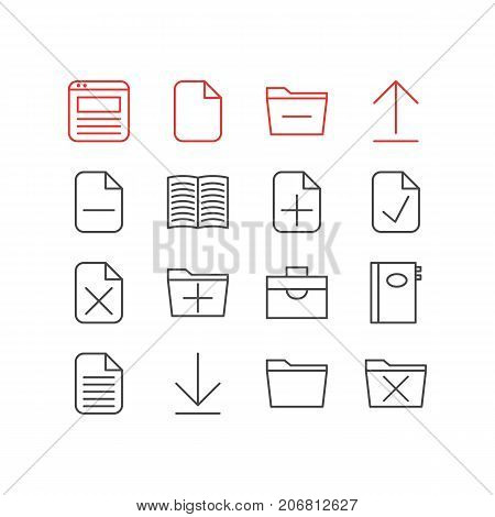 Editable Pack Of Portfolio, Add, Textbook And Other Elements.  Vector Illustration Of 16 Bureau Icons.