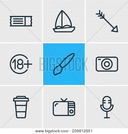 Editable Pack Of Coupon, Photo Apparatus, Mic And Other Elements.  Vector Illustration Of 9 Joy Icons.