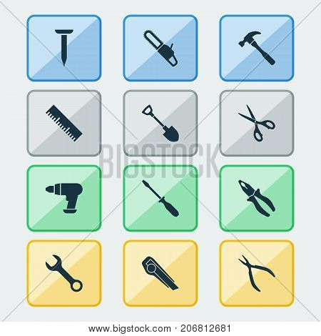 Handtools Icons Set. Collection Of Clamp, Cutter, Round Pliers And Other Elements