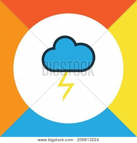 Premium Quality Isolated Cloudburst Element In Trendy Style.  Thunderstroke Colorful Outline Symbol.