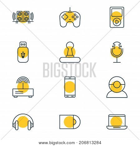 Editable Pack Of Smartphone, Computer, Joypad And Other Elements.  Vector Illustration Of 12 Device Icons.