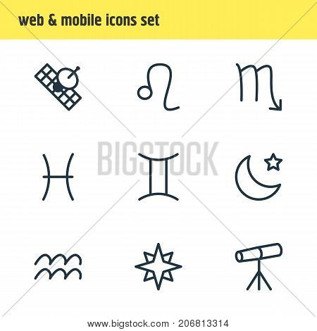 Editable Pack Of Favorite, Zoom Glass, Twins And Other Elements.  Vector Illustration Of 9 Galaxy Icons.