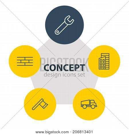 Editable Pack Of Lorry, Spanner, Apartment And Other Elements.  Vector Illustration Of 5 Construction Icons.