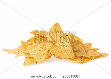 A pile of cheese covered tortilla chips isolated on white background. Nachos mexican cuisine
