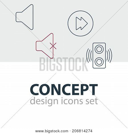 Editable Pack Of Soundless, Advanced, Amplifier And Other Elements.  Vector Illustration Of 4 Melody Icons.
