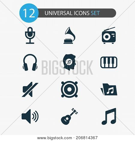 Audio Icons Set. Collection Of Phonograph, Earphone, Meloman And Other Elements