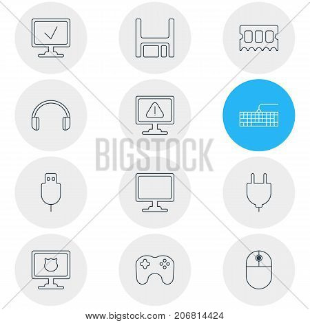 Editable Pack Of Gamepad, Online Computer, Serial Bus And Other Elements.  Vector Illustration Of 12 Notebook Icons.