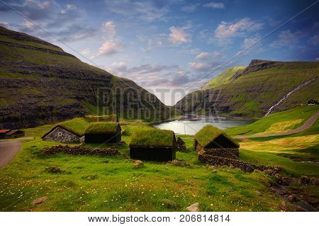 The nature in the Faroe Islands in the north Atlantic