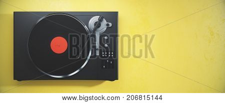 Vinyl Record Player On Yellow Background