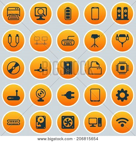 Hardware Icons Set. Collection Of Desktop Computer, Cd-Rom, Computer Ventilation And Other Elements