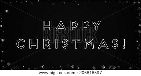 Happy Christmas Greeting Card. Sparse Snowfall Background. Sparse Snowfall On Black Background. Marv