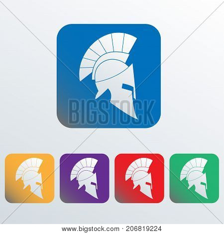 Spartan and gladiator helmet icon. Ancient Roman or Greek helmet with feathered crest. Colorful vector illustration.