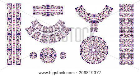 Ethnic brushes. African ethnic print. The Aztec pattern. Oriental lace tape. Indian jewel. Embroidery on fabric. Asian ornament. Tribal art. The decoration of clothes. Ribbon, border.
