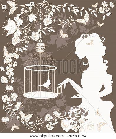 Vintage Girl And Bird