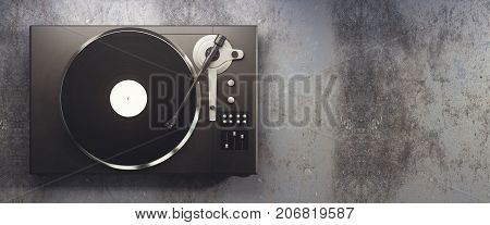 Vinyl Record Player On Concrete Background