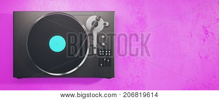 Vinyl Record Player On Pink Background