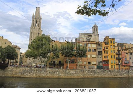 Oñar River Passing By Gerona In Front Of The Cathedral, Spain