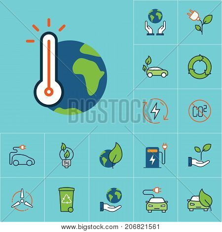 Flat Color Global Warming Icon, Green Energy Set