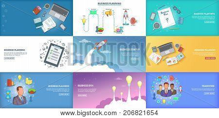 Business banner set template. Cartoon illustration of banner vector set template for any web design