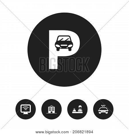 Set Of 5 Editable Motel Icons. Includes Symbols Such As Wireless Tv, Parking, Check In And More