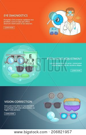 Ophthalmologist technology banner set template. Cartoon illustration of banner vector set template for any web design