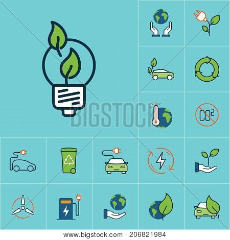 Flat Color Efficient Light Bulb Icon, Green Energy Set