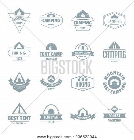 Camping tent logo icons set. Simple illustration of 16 camping tent logo vector icons for web