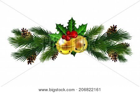 Christmas decoration with evergreen trees and jingle bells vector
