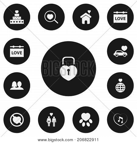 Set Of 13 Editable Heart Icons. Includes Symbols Such As World, Loupe, Wedlock And More