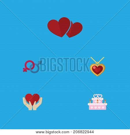 Flat Icon Heart Set Of Soul, Necklace, Patisserie And Other Vector Objects