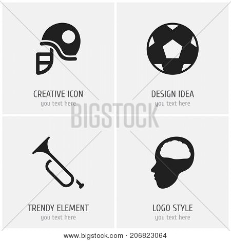 Set Of 4 Editable Science Icons. Includes Symbols Such As Cerebrum, Propeller, Bugle And More