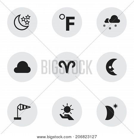 Set Of 9 Editable Climate Icons. Includes Symbols Such As Covered With Snow, Solar In The Palm, Moonshine And More