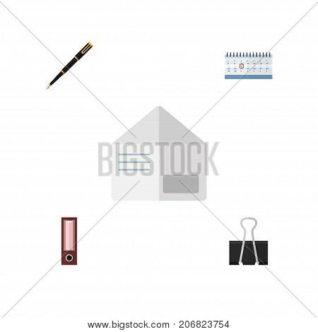 Flat Icon Tool Set Of Letter, Date Block, Paper Clip And Other Vector Objects