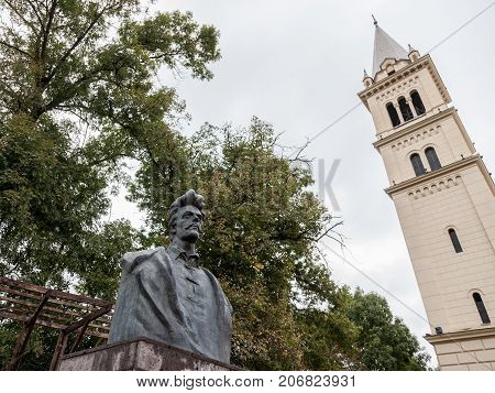 SIGHISOARA ROMANIA - SEPTEMBER 22 2017: Statue of Sandor Petofi Hungarian Poet considered in Hungary as a hero located in the citadel of Sighisoara Romania