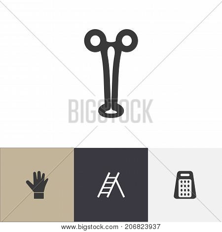 Set Of 4 Editable Instrument Icons. Includes Symbols Such As Staircase, Forceps, Shredder And More