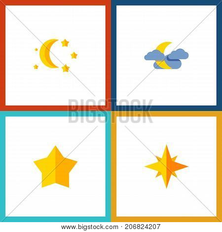Flat Icon Night Set Of Asterisk, Bedtime, Midnight And Other Vector Objects