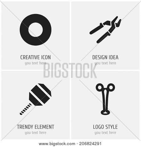 Set Of 4 Editable Apparatus Icons. Includes Symbols Such As Press Instrument, Spacer, Excavate And More